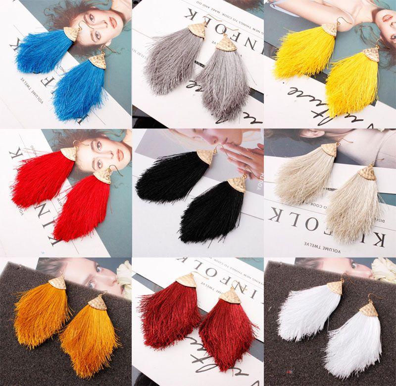 New Cotton Fan Shaped Quaste Temperament Ohrring Böhmen-nationale Art-Legierung Pfeil Troddel-Ohrringe Hyperbole Ohrring für Frauen-Schmucksachen