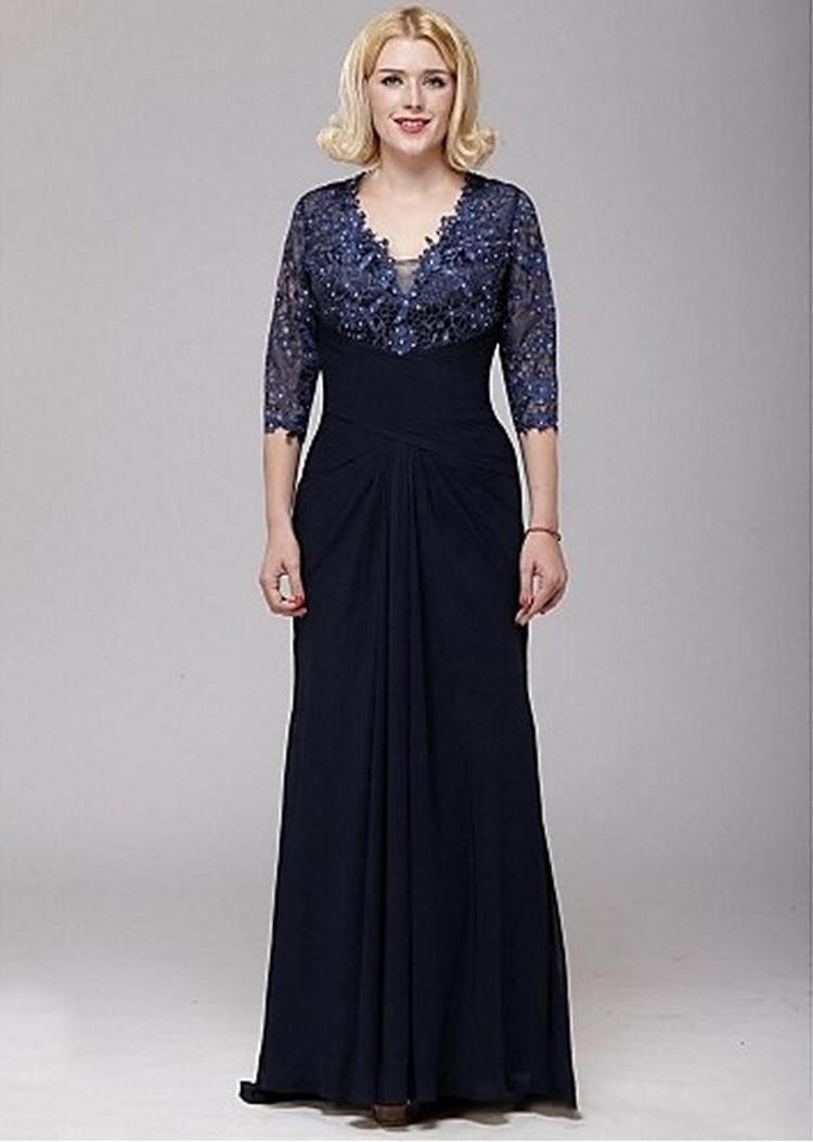 Plus Size V-neck A-line Lace E Chiffon Mãe da Noiva Vestidos com mangas 3/4 até o chão da Mãe Vestidos PD4220