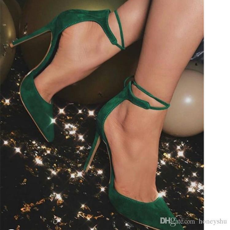 Kolnoo Senhoras Handmade Sapatos de Salto Alto Bombas de Camurça Dedo Apontado Toe Vestido Sapatos Tornozelo Sexy Escritório Partido Moda Noite Sapatos D124