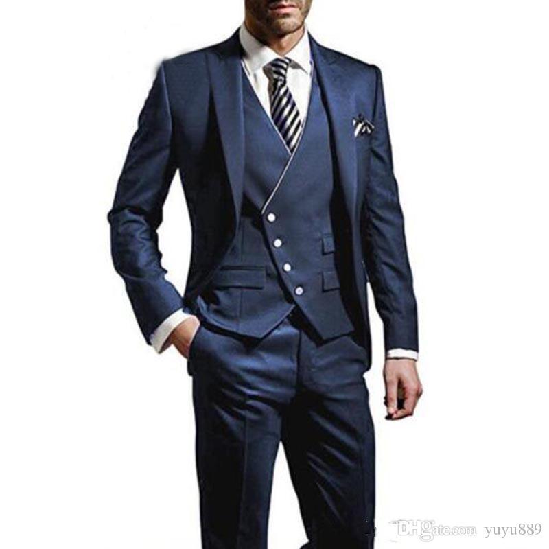 العريس البدلات الرسمية الذروة التلبيب الرجال زفاف سهرة أزياء الرجال سترة السترة الرجال عشاء / darty البدلة مخصص (سترة + سروال + التعادل)