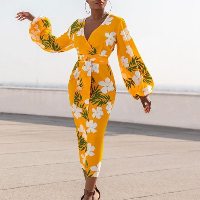Vestido amarelo Impresso V Neck flor branca longa luva Lantern Bodycon cintura alta Mulheres Vestidos Ladies Africano Plus Size XL Robes