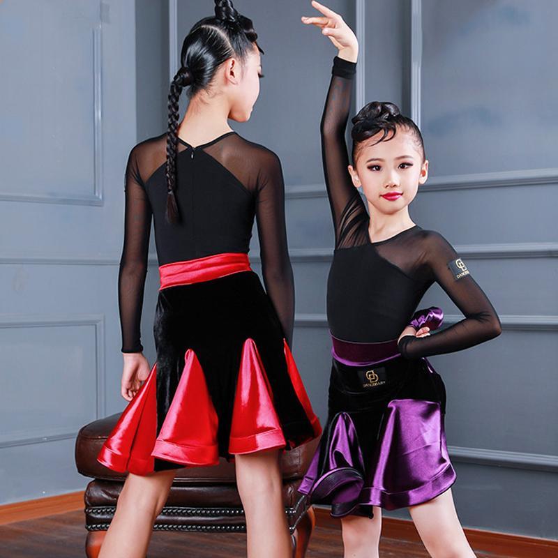Le ragazze di danza gonna per bambini Latin Dance Gonna Inverno Velvet Dancewear Concorso Outfit bambini latino Rumba Wear BL3122