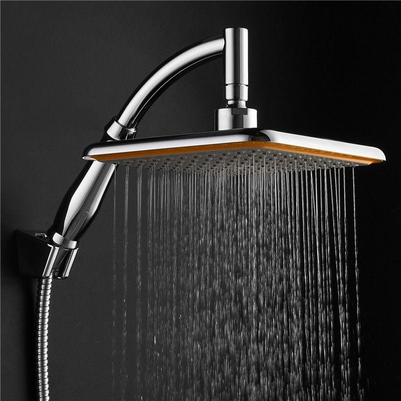 1 Set 9 Inch Top Rain Shower Head Square 360 Rotatable Pressurized Top Spray + Conversion rods + Hose + Shower Holder