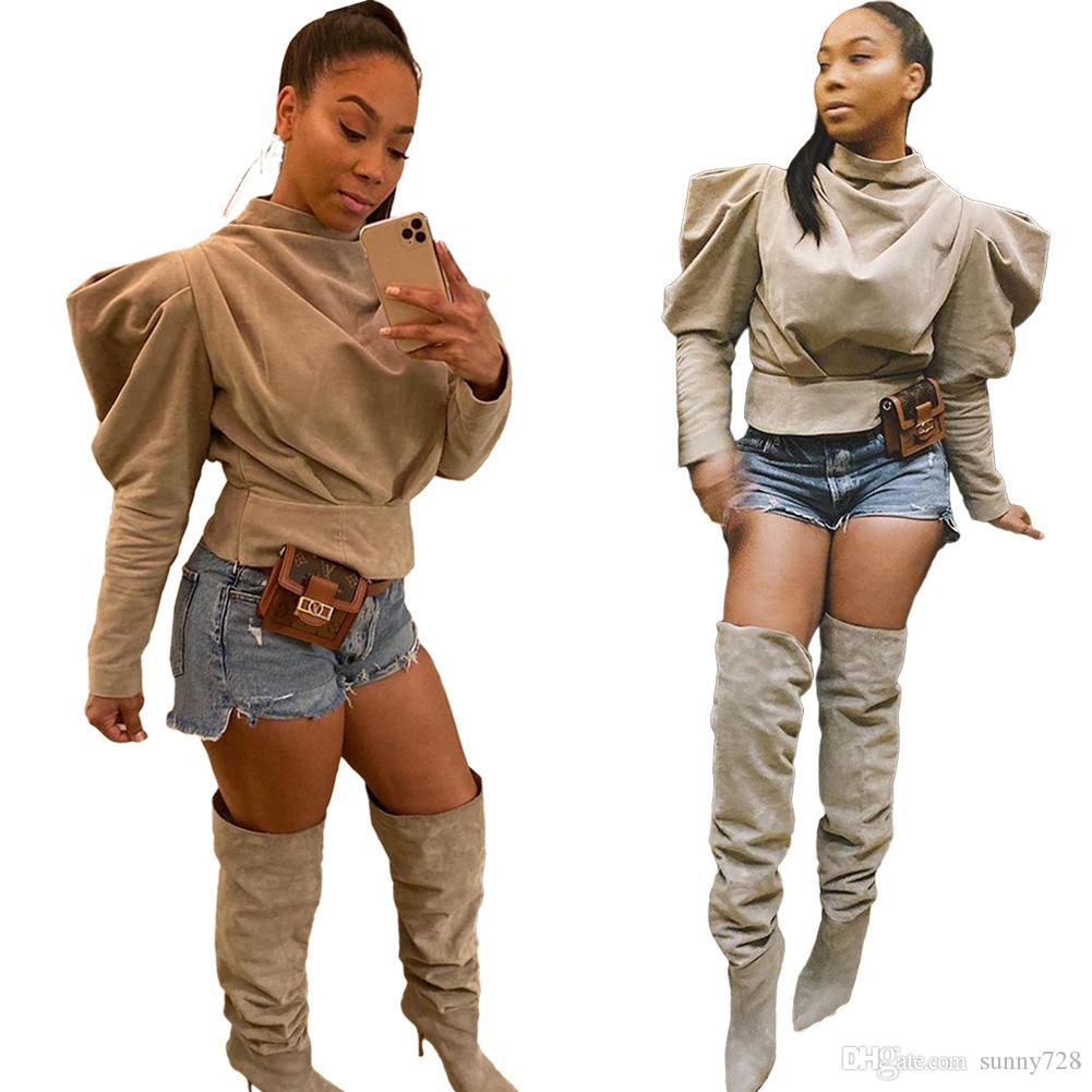 Хаки High Neck Women T Shirt 2020 Spring оборки Ruched мода Lady Top Фонарь с длинными рукавами Solid Si шеи Сыпучими вскользь девушки T Tops рубашки