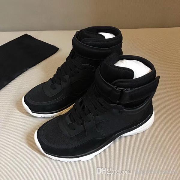 Cheap Famoso Francia Marca delle donne degli uomini delle scarpe da tennis superiore Sneakers Sneakers in pelle genuina, Tennis CN Tutti Black Shoes 35-45 spedizione gratuita