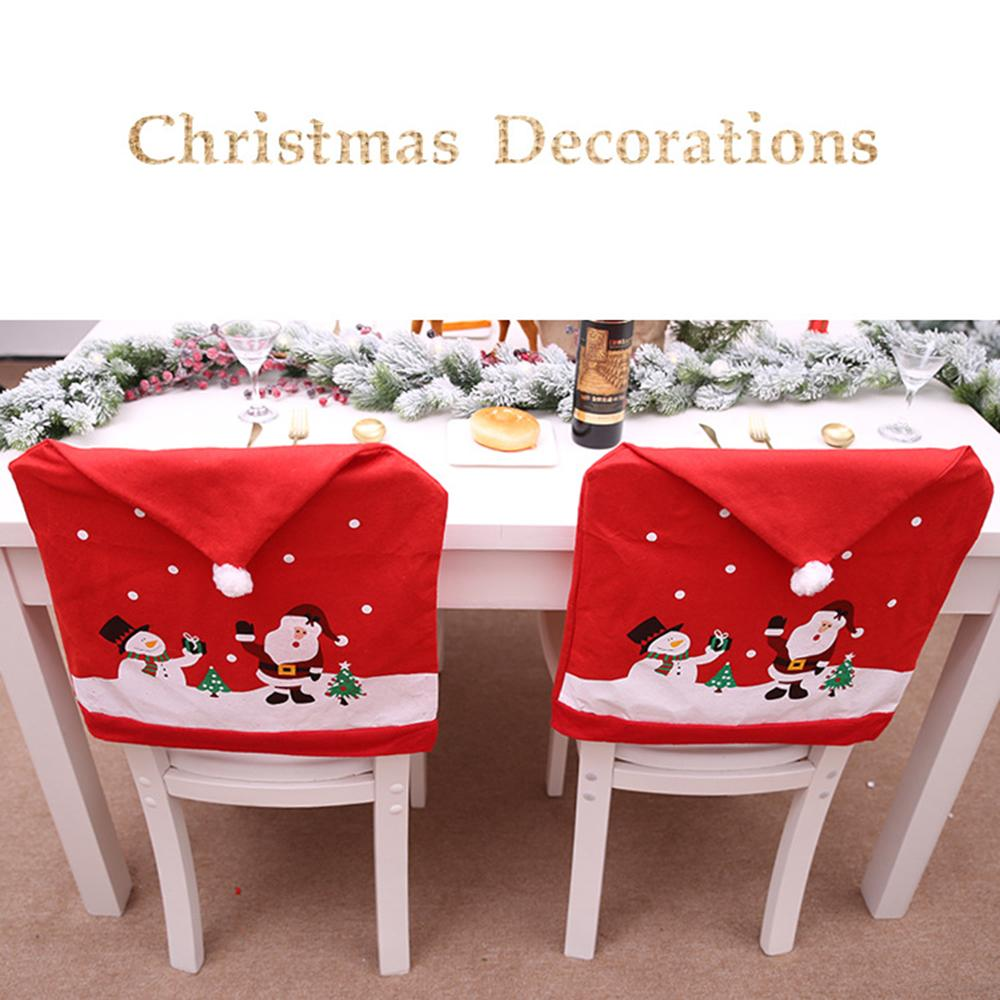 New Santa Claus Cap Chair Cover Christmas Dinner Table Party Red Hat Chair Back Covers Xmas Christmas Decorations for Home