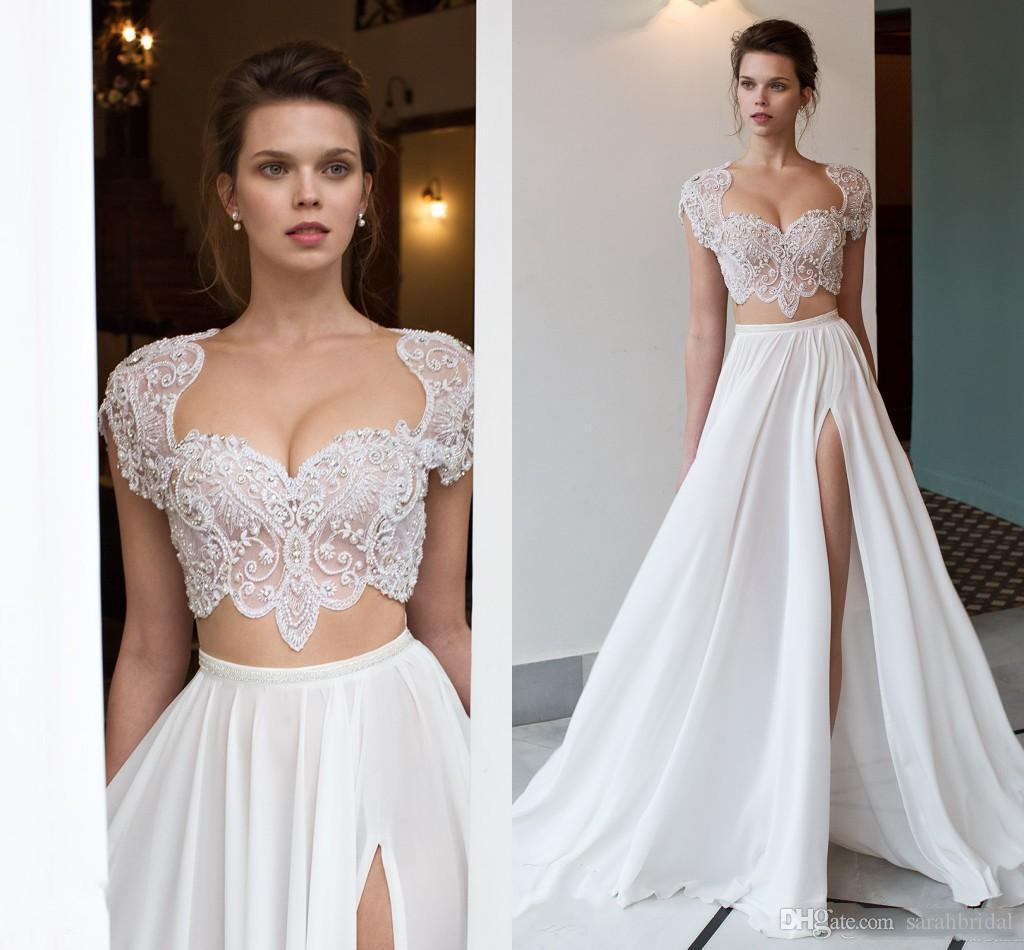 2020 알린 두 조각 화이트 웨딩 드레스 캡 슬리브 분할 롱 쉬폰 보헤미안 비치 신부 가운
