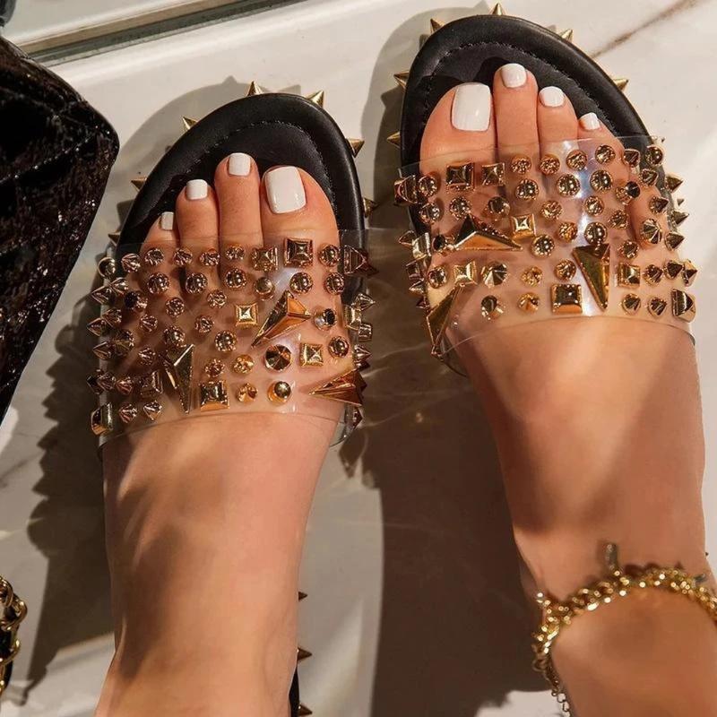 2020 Сандалии Женщина Transparent Квартиры обуви большого размера Женщина Четкой Обувь с Rivet Ladies римском Бич Sandalias Mujer