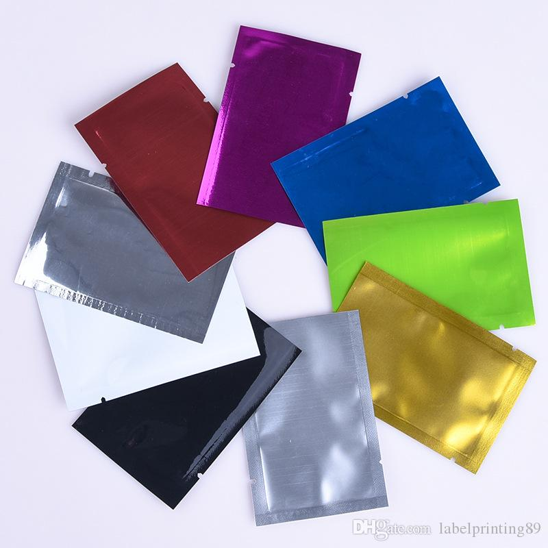 200pcs silver foil open top colorful mylar bag vacuum heat seal packing bags multi-colors tea package pouch aluminum foil moisture proof bag