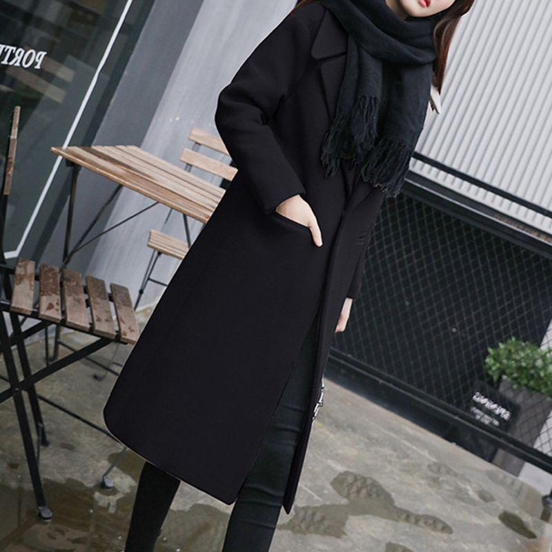Fashion-2018 Sonbahar Kış Yeni Sıcak Kadınlar Yün Ceket Moda Uzun Bölüm İnce Giyim Zarif Kore Bayanlar Coat Mizaç LY180