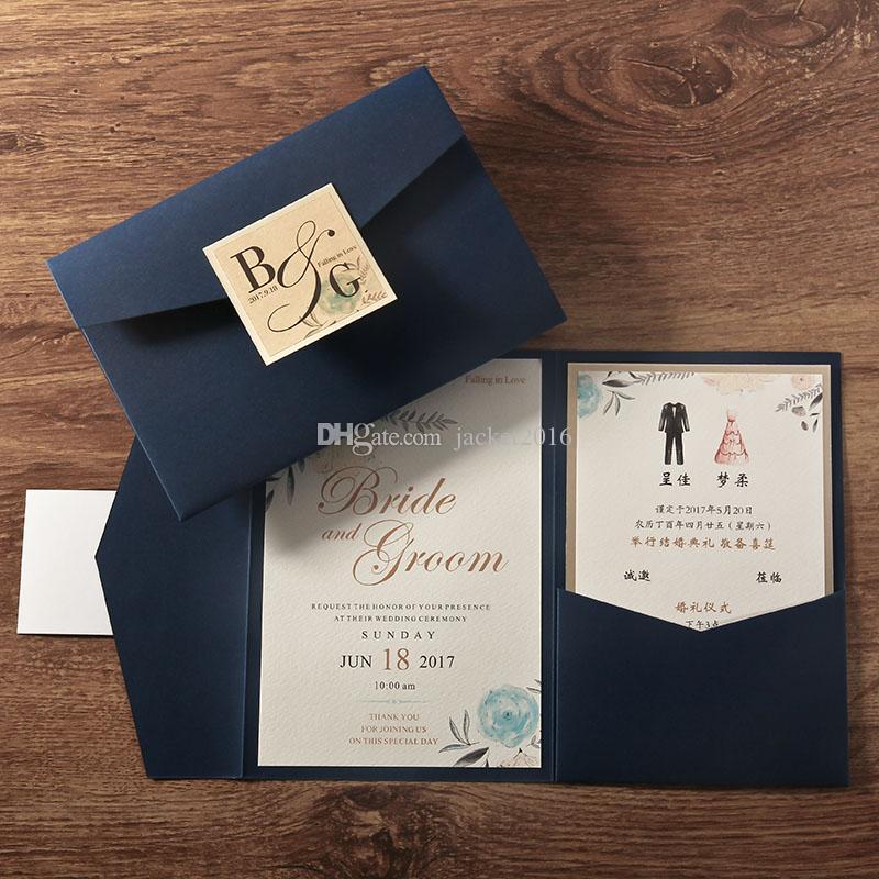 2019 Wedding Invitations Envelope Style Trifold Pocket Wedding