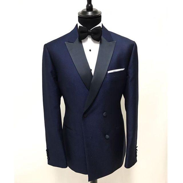 Lacivert smokin damat düğün erkekler suit erkek düğün takım elbise smokin kostümleri de sigara hommes dökün erkekler (Ceket + Pantolon + Kravat) 046