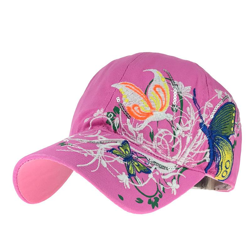Women Sun Hat Adjustable Baseball Cap Flower Butterfly Embroidery Hats For Girls Summer Pearl Sequins Snapback