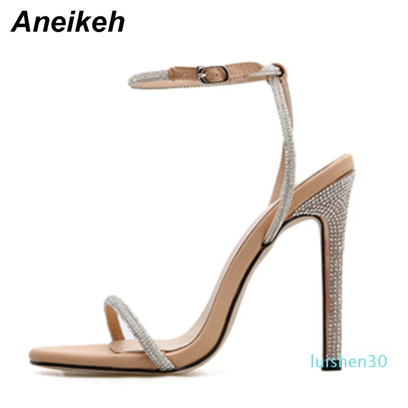 Aneikeh Estate 2019 Concise PU Donne Sandali con tacco Fibbia cinturino alla caviglia sottile Tacchi alti punta rotonda del partito di formato albicocca nera 35-40 L30
