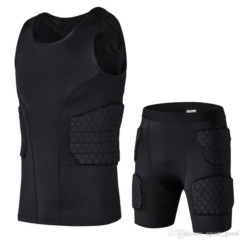 Honeycomb esportes protecção Segurança engrenagem Futebol goleiro Jersey Shorts Coletes Outdoor Futebol acolchoado Protector Gym Clothing