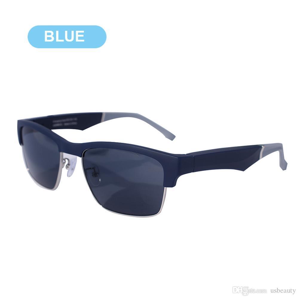 Smart Bluetooth 5.0 Gläser drahtlose Sport-Headset-Mikrofon Anti-blaues Licht Sonnenbrille IP64 Polarisierende Wasserdicht Schwarz / Blau-Kopfhörer