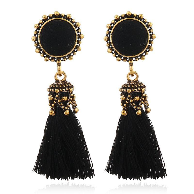 X&P Small Tassel Earrings for Women Fashion Jewelry Vintage Velvet Ball Statement Fringed Tiny Drop Earring Female Jewellery