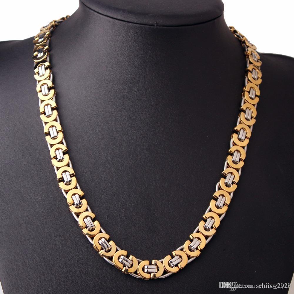 11мм византийский Box Link цепи ожерелье для мужчин из нержавеющей стали цепи Золото Серебро Черный Мода Мужчины оптовой продажи ювелирных изделий