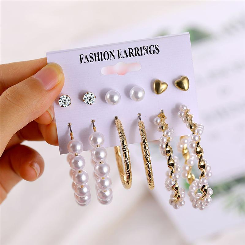 Leopard Tassel Acrylic Earrings For Women Bohemian Pearl Dangle Earrings Big Geometric Earrings Set 2020 Brincos Female Jewelry