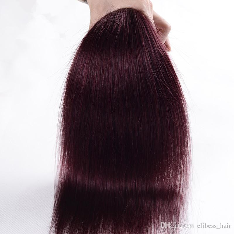 Große Promotion 4 Bundles / Los Farbe Burgund Gerade Malaysian Haar-Verlängerungen 99J Rotwein Gerade Menschenhaar-Webart Gute Geschäfte, freies DHL