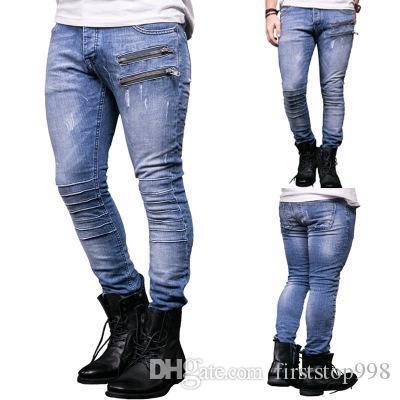 Moda Uomo Zipper skinny jeans dritto pantaloni del denim distrutto jeans strappati blu dei jeans slim fit di strada