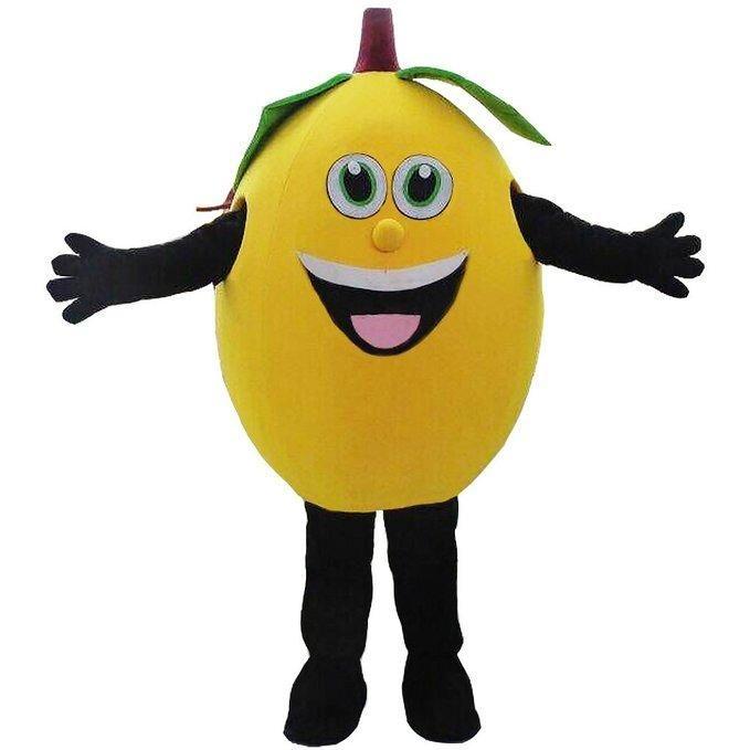 2019 Sconto fabbrica vendita giallo limone mascotte costumi frutta mascotte costumi Costumi di Halloween Chirstmas Party Adult Size Fancy Dress
