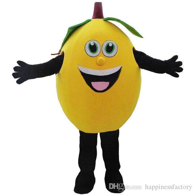 2019 Rabatt Fabrik Verkauf gelb Zitrone Maskottchen Kostüme Obst Maskottchen Kostüme Halloween Kostüme Chirstmas Party Erwachsene Größe Kostüm