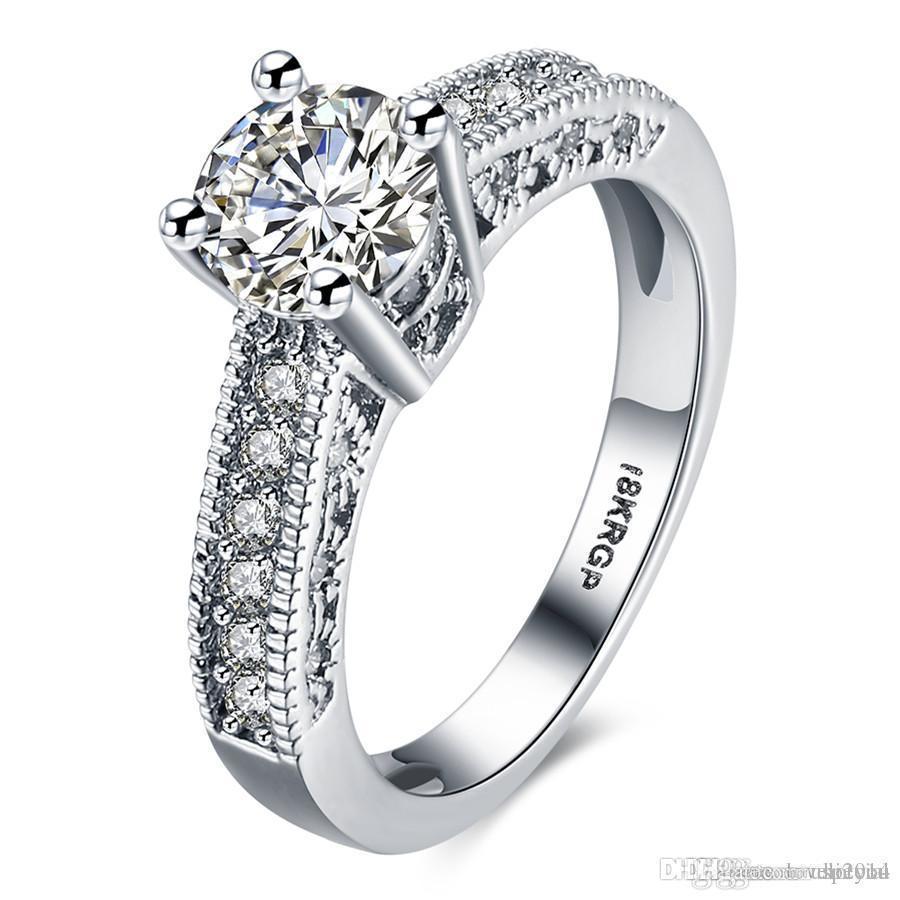 Hotyou Vintage Party los anillos cristalina cúbica de Zirconia Para joyería de la boda Mujeres Niñas 18KRGP oro blanco plateado al por mayor venta caliente