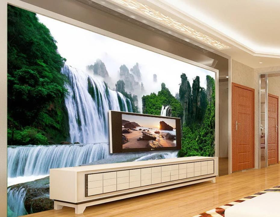 pintura moderna Paisagem Papel de parede do 3D, parede de fundo TV Pintura Sala 3D Wallpaper