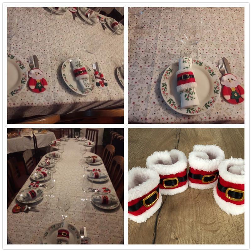 4 adet Noel Baba Peçete Halkası Noel Havlu Tutucu Daireler Noel Yemeği Parti Masa Dekorasyon Noel Ev Dekor