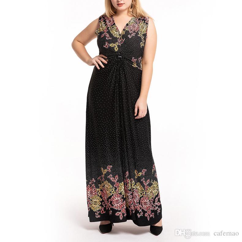 Nouvelle arrivée vente chaude Taille Plus 5XL manches Robe imprimée parole longueur Polyester Femmes Maxi Dress