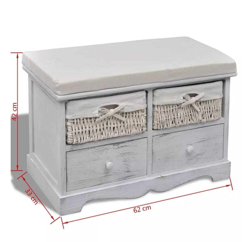 Beyaz Ahşap Depolama Bench 2 Dokuma Sepetleri 2 Çekmeceler Salon Mobilya