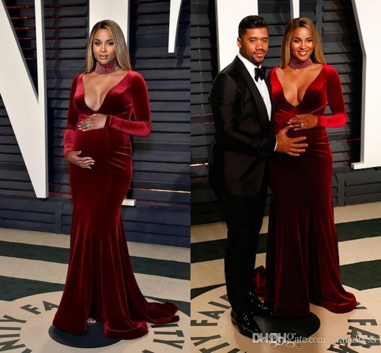 2019 Burgundy Velvet Long Sleeves Evening Dresses For Pregnant Women Plunging V Neck Mermaid Maternity Party Prom Gowns Red Carpet Celebrity