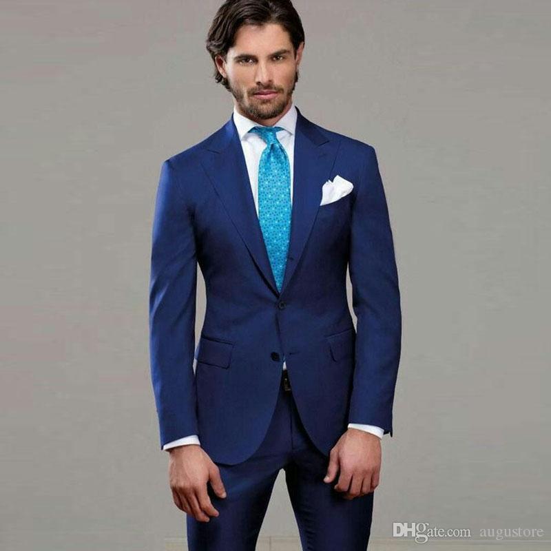 Spitze Revers Designs Blau Bräutigam Smoking Classic Herren-Anzüge für Hochzeit 2Piece (Mantel + Pants) Formal Kostüm Homme Terno Masculino Trajes de hombre