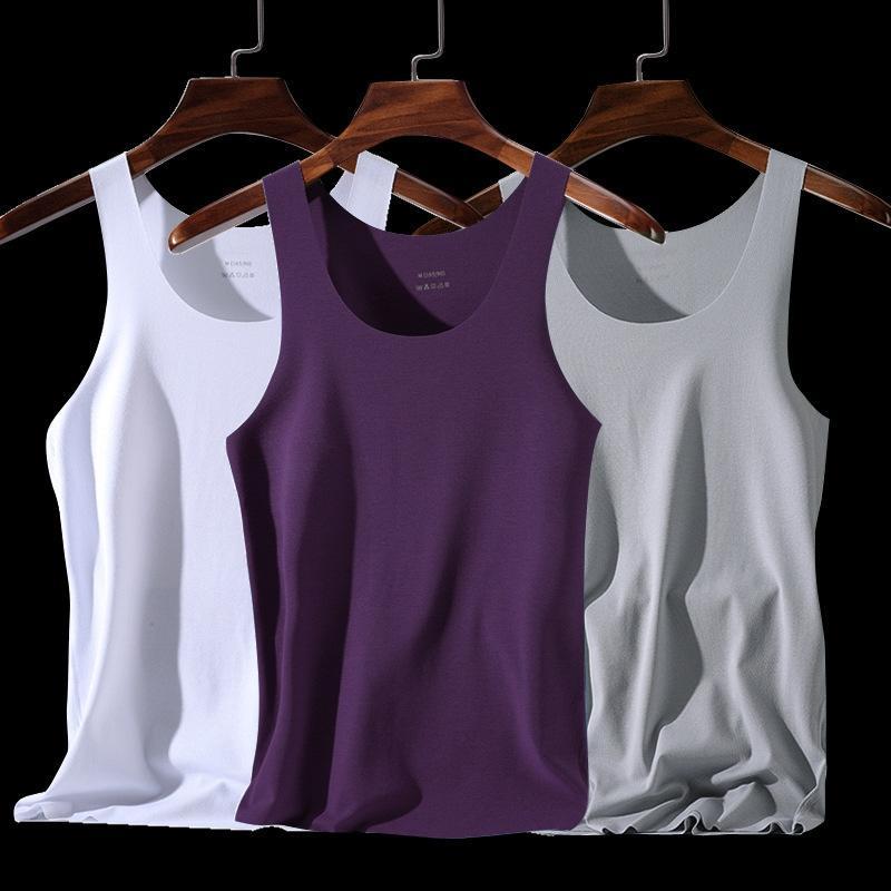 t4UU1 Four Seasons мужских связанно с высокой бесшовного жилетом рубашка жилета шеи тонких спортивным барьер шелк стрейч лед рубашка лето