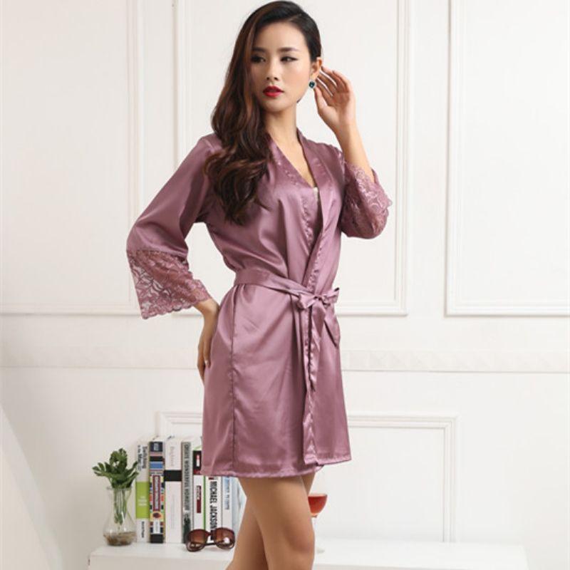fz0465 las mujeres del satén de seda trajes atractivos del kimono ropa de dormir ropa de dormir camisón pijama de Albornoz con cinturón