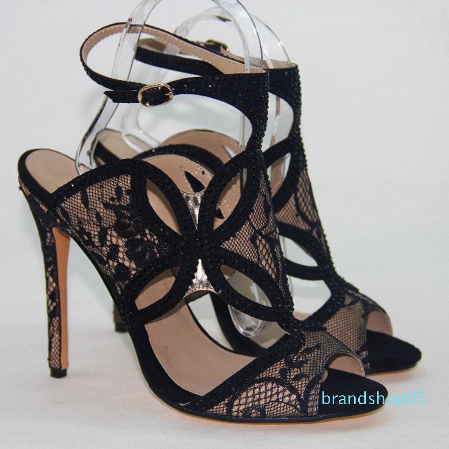 Sapatos Mulher oco Out Peixe boca com sandálias tamanho pode completa Wed2019 Lace preto de salto alto