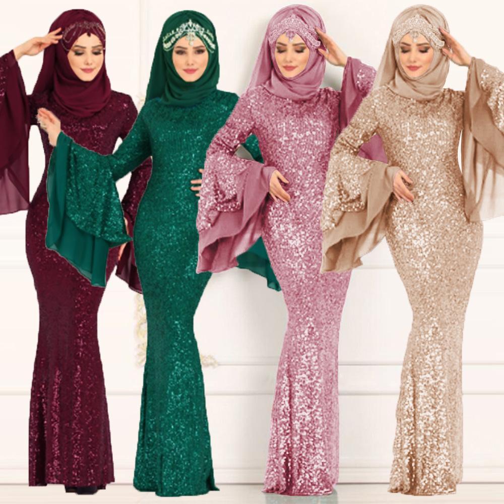 Müslüman Kadın Giyim Islam Çift Katmanlı Big Horn Kol Elbise Ekleme Pullarda Çanta Kalça Elbise