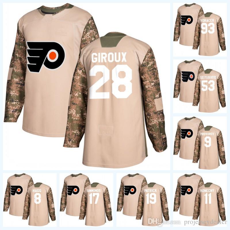 여자 28 Claude Giroux Philadelphia Flyers Camo 참전 용사 일 Travis Konecny Shayne Gostisbehere 이반 프로보 로프 Jakub Voracek Hockey Jersey