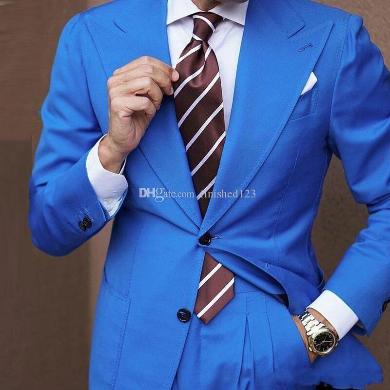 A estrenar dos botones azules de la boda de los hombres trajes de dos piezas pico solapa esmoquin negocios novio (Jacket + Pants + Tie) W1190