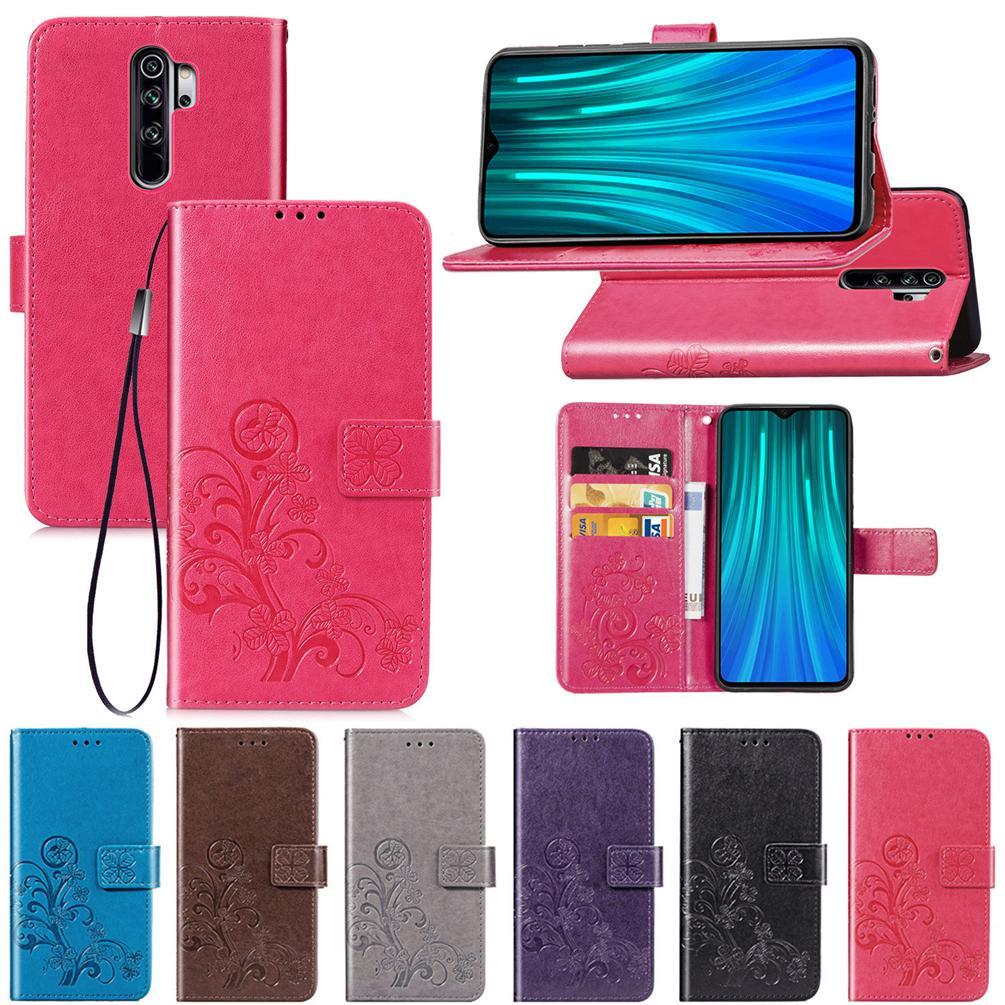 Pour Xiaomi redmi Note 8 Pro Case PU Housse en cuir chanceux Trèfle à quatre avec carte portefeuille sous Dragonne (Note8Pro)