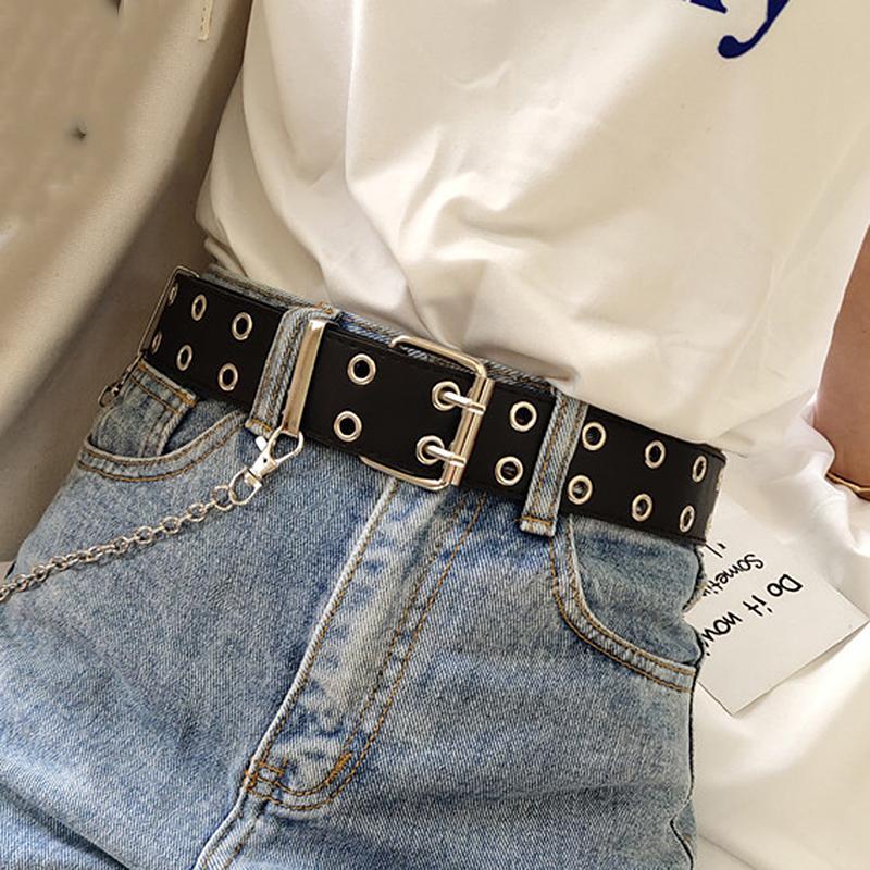 Kadınlar için Kadınlar Kemer Gerçek Deri Yeni Punk Stil Moda Pim Toka Jeans Dekoratif Kemer Zincir Kayışlar