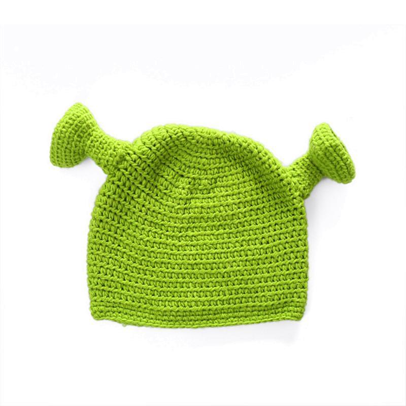 Симпатичные Шрек Смешные мужчины Hat Вязание Зеленый монстр Skullies Hat с ушками Hat Winter Новизна Beanie Skullies Для женщин Для мужчин Хэллоуин Подарки Лучшие продажи