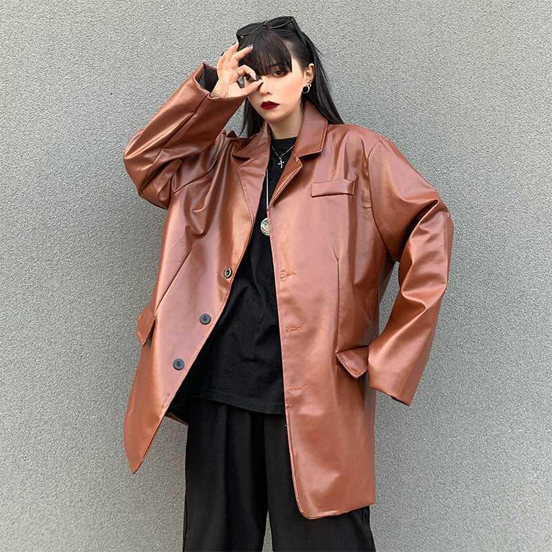 2020 Brasão Mulheres Magro Primavera Outono Mulheres PU Turn Down gola do casaco de couro Moda Curto revestimento de couro streetwear New PY145