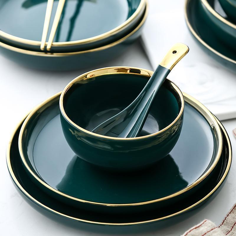 100% New Green Ceramic Gold Inlay Plate Steak Food Plate Tableware Bowl Ins Dinner Dish High End Porcelain Dinnerware Set