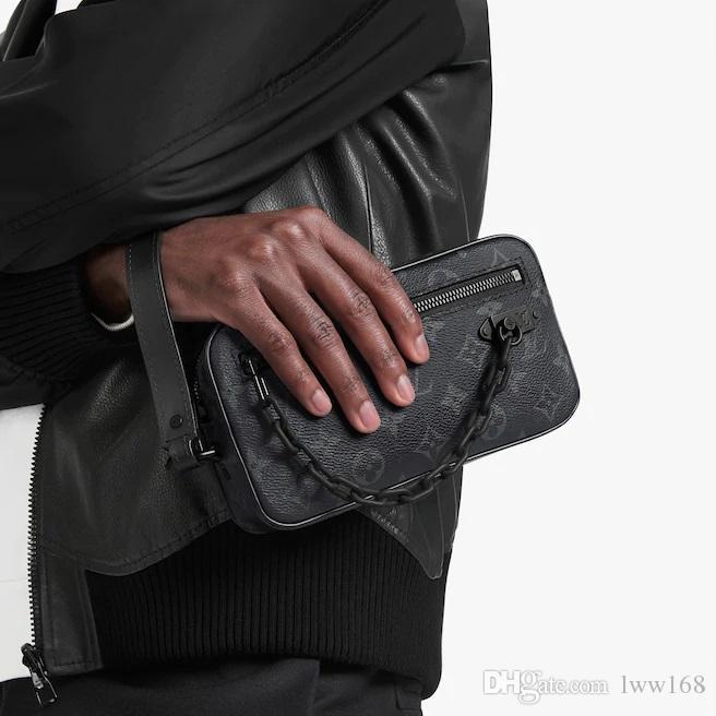 سلسلة الفاصل M68321 MEN ريال محفظة من الجلد سلسلة طويلة WALLETS COMPACT محفظة CLUTCHES مساء مفتاح حامل بطاقة