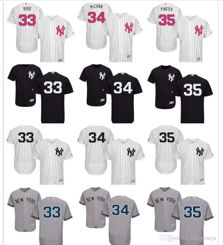 2020 Homens Mulheres personalizado Crianças NewYorkYankees Jersey 33 Greg pássaro 34 Brian McCann 35 Michael Pineda branco do basebol dos miúdos Jersey como