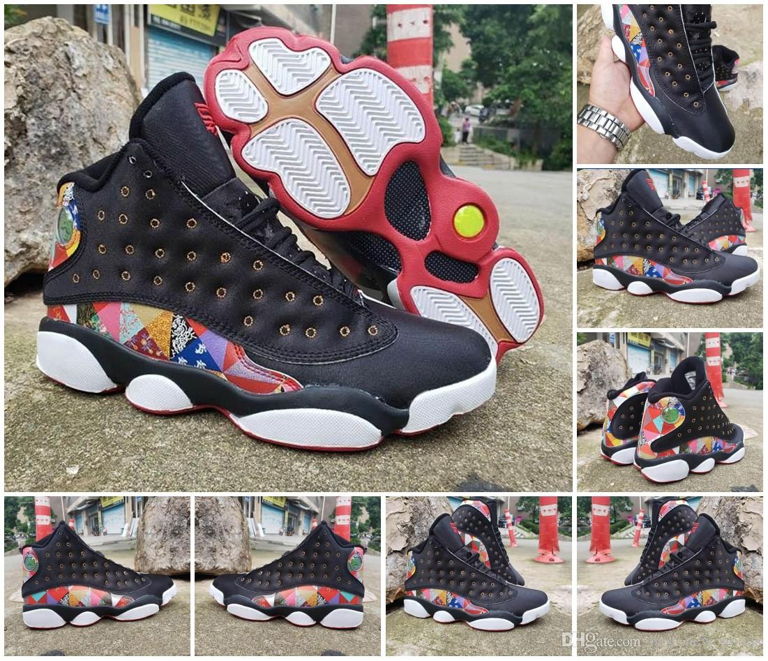 2020 New 13 CNY Chinese New Year Men Basketball Shoes Cheap Black True Red White Traditional Chinese Patchwork Quilted Pattern 13s Mens Sneakers From