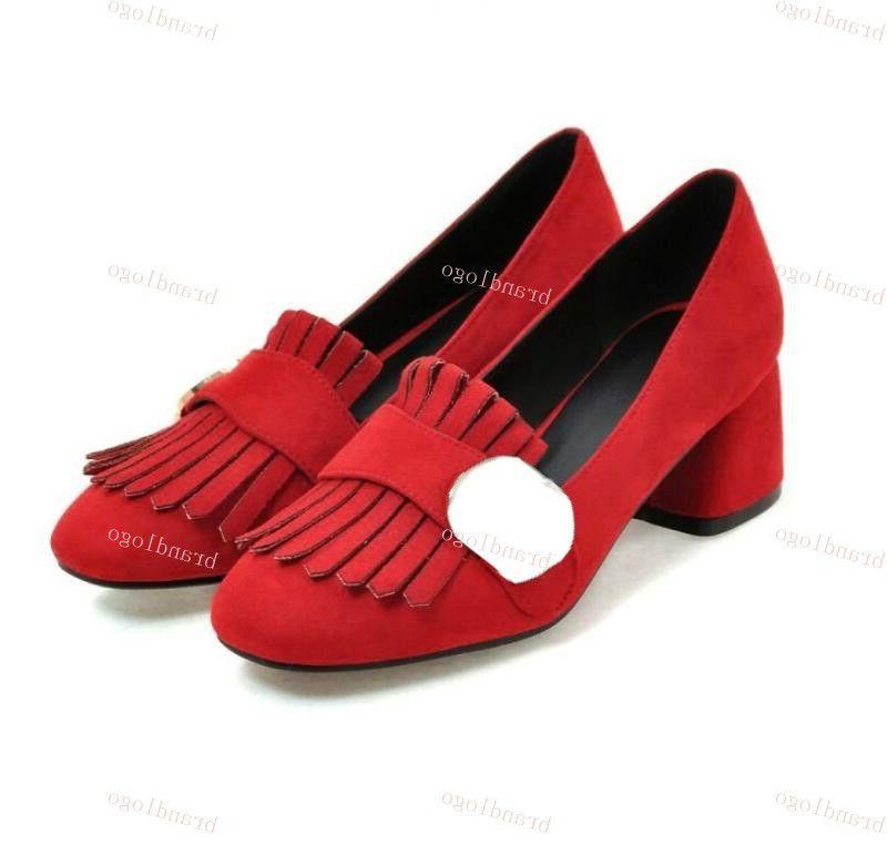 새로운 럭셔리 스웨이드 여성의 신발 이탈리아어 두꺼운 뒤꿈치 캐주얼 신발, 디자이너 술 금속 장식 편안한 낮은 최고 캐주얼 신발 V8