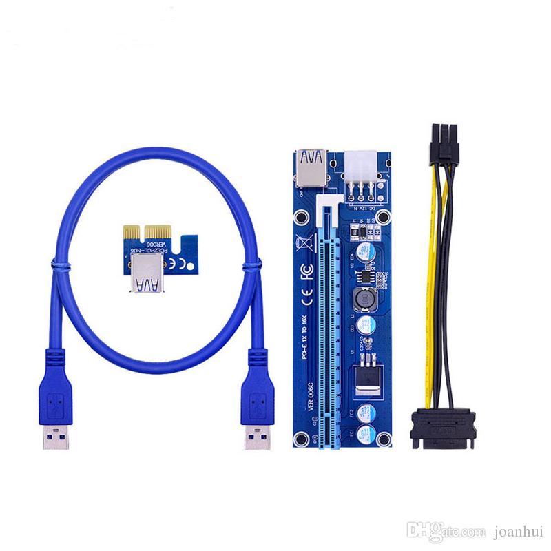 50pcs/lot 006C PCIe PCI-E PCI Express Riser Card 1x to 16x USB 3.0 Data Cable SATA to 6Pin Molex Power Supply for BTC Miner Machine